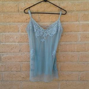 Victoria secret  blue mesh with embroidery
